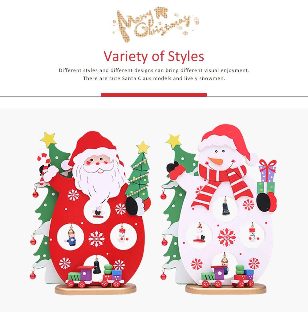 Cartoon Old Man Snowman Desktop Decoration, New Christmas Wooden Decorations 4