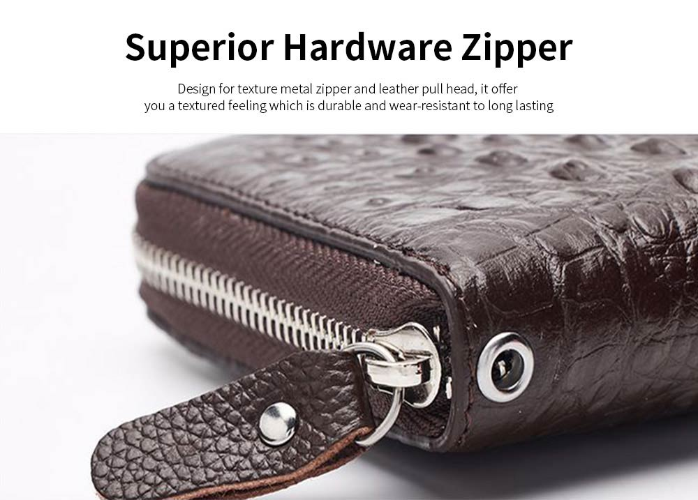 Men's Crocodile Pattern Long Wallet with Metal Zipper, Genuine Leather Clutch Business Bag 4