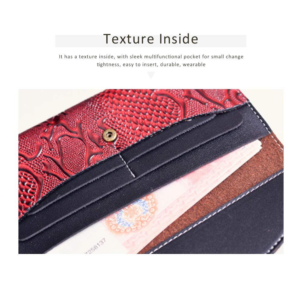 Snake Leather Purse, Sleek Minimalist Buckle Wallet For Ladies 2