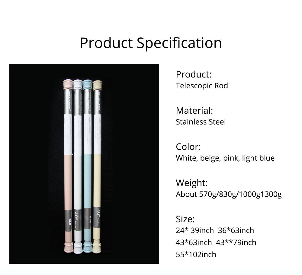 Punch-free Shower Curtain Rod Household Paint Full Spring Telescopic Rod for Bathroom 8