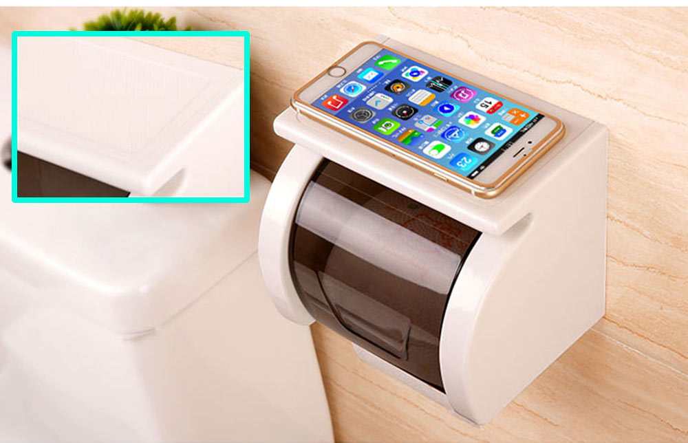 Bathroom Waterproof Toilet Tray Holder, Tissue Box Shelf, Punch-free Roll Holder 4