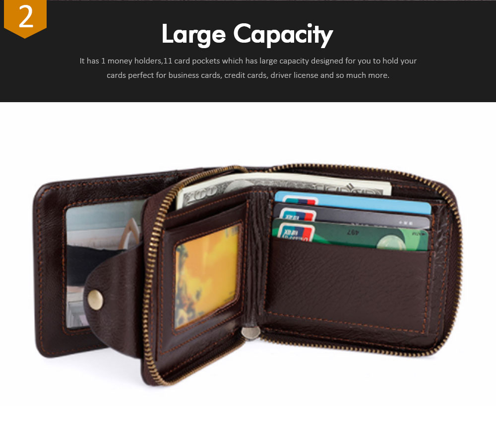 Men's Small Leather Wallet With Coin Pocket, Wear-Resistant Fashion Business Purse 2