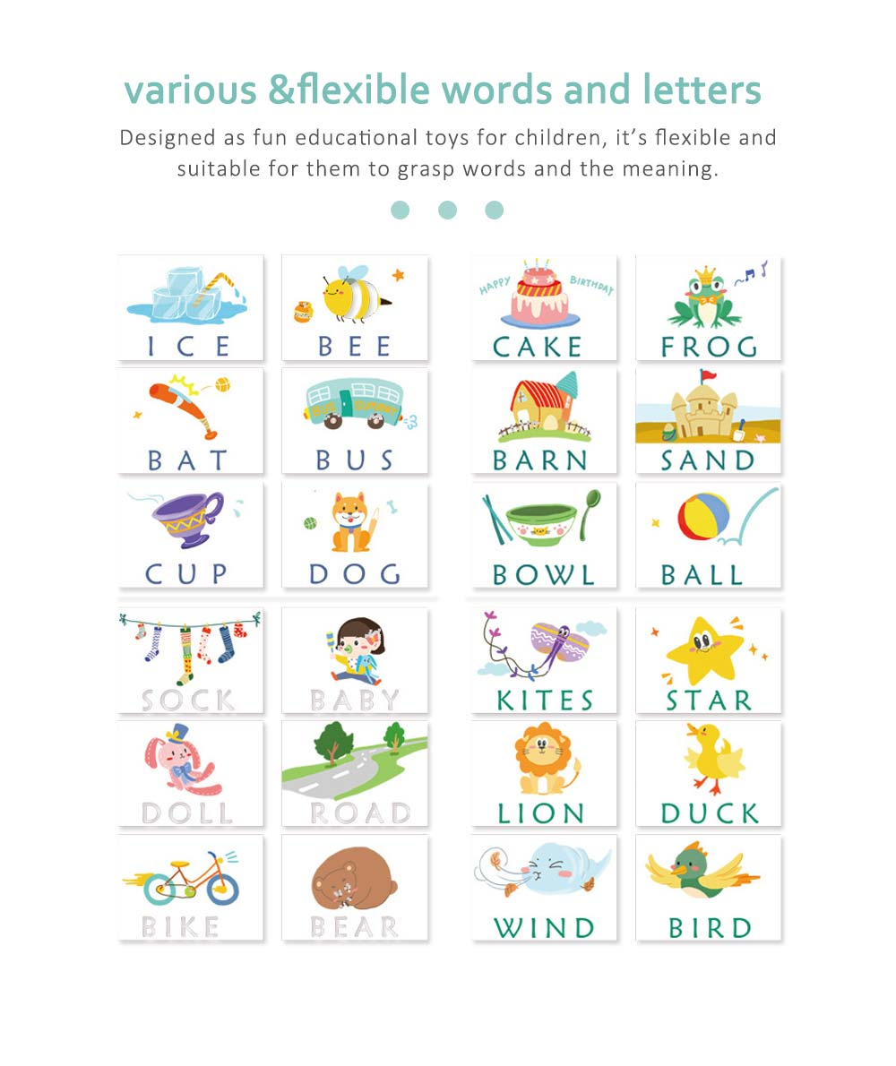 Wooden English Cardboard Puzzle, English Enlightenment Early Learning Word Card 2