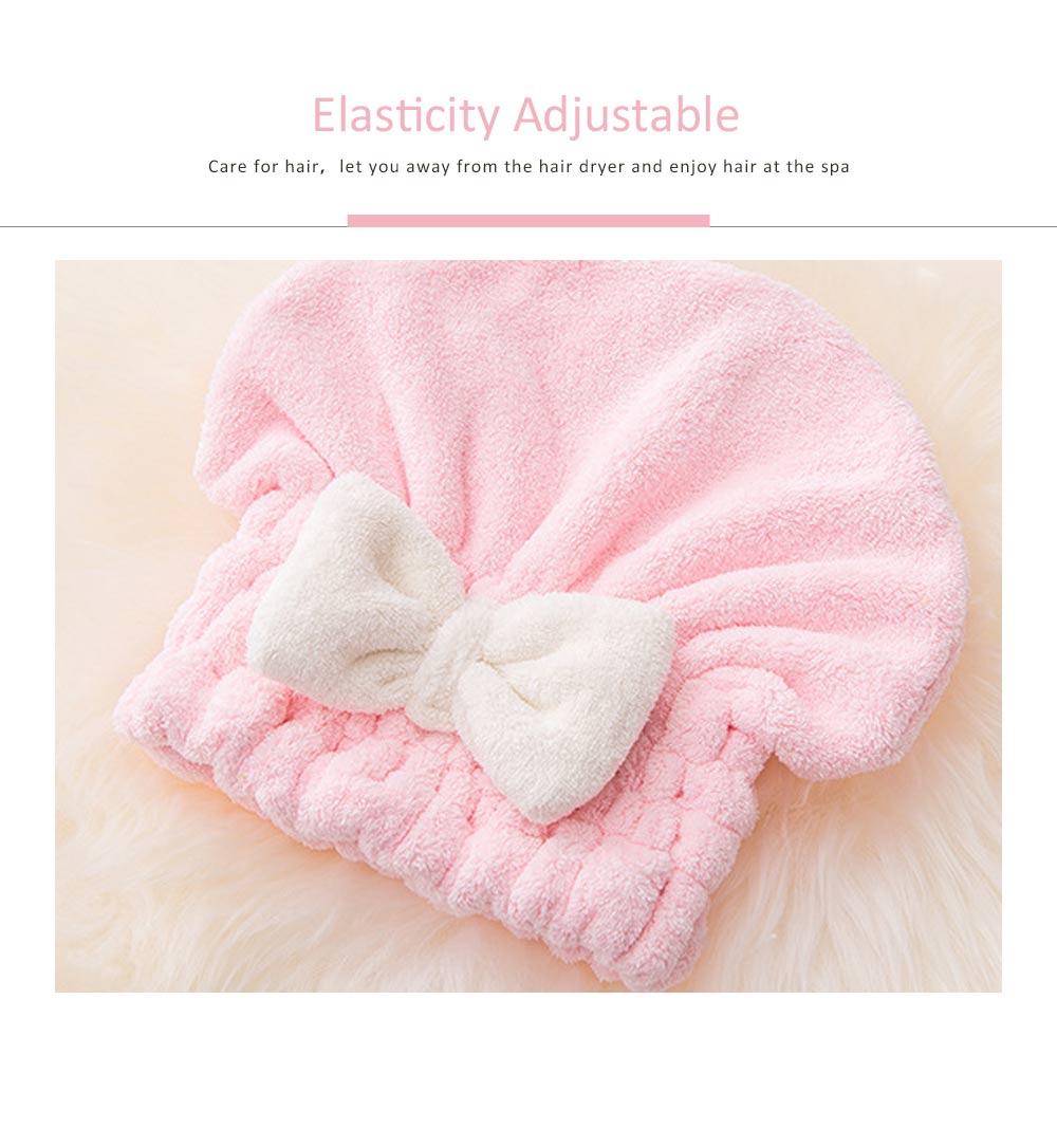 Super Absorbent Hair Drying Cap, Bow Absorbent Coral Velvet Magic Shower Cap 1