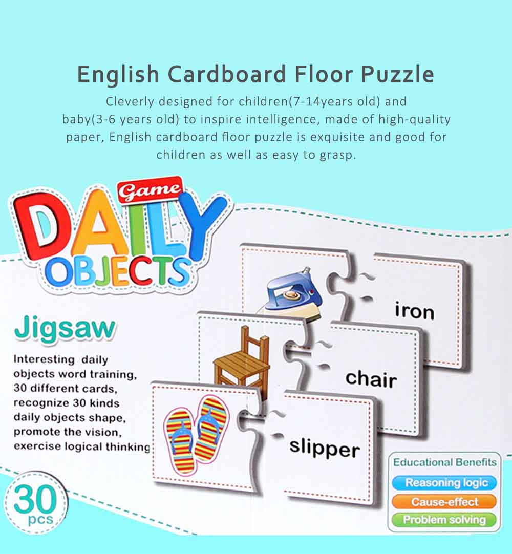 English Language Learning Card Games, Children Cognitive Floor Cardboard Puzzle 0