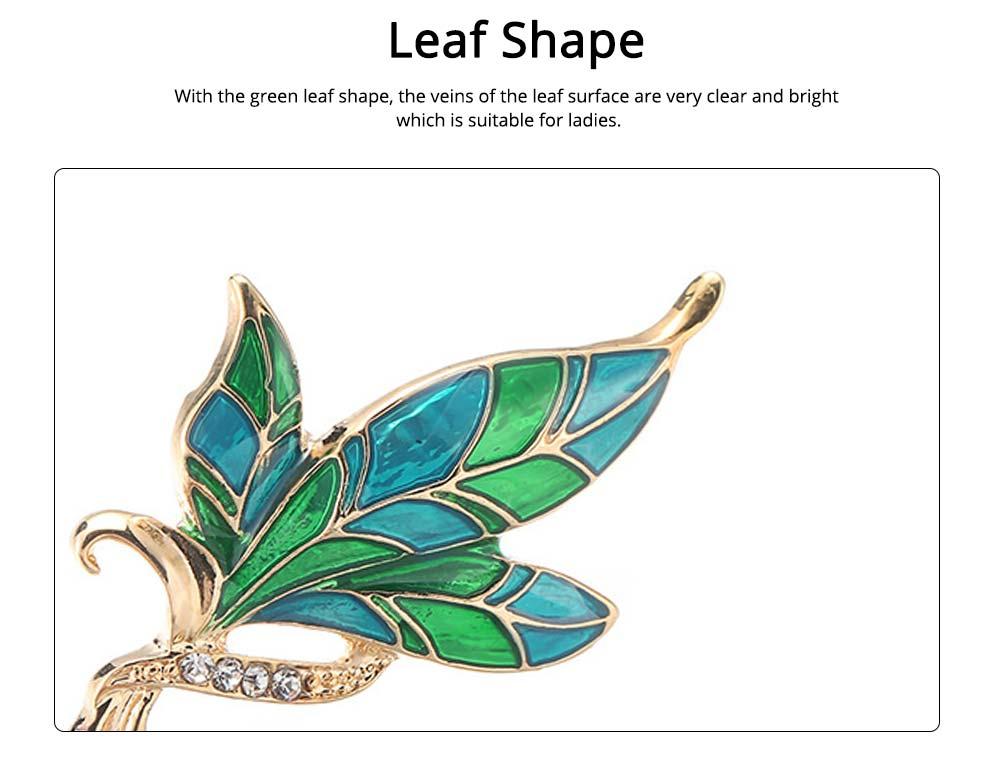 Green Rhinestone Leaf Brooch, Alloy Diamond-Encrusted Women's Corsage 1
