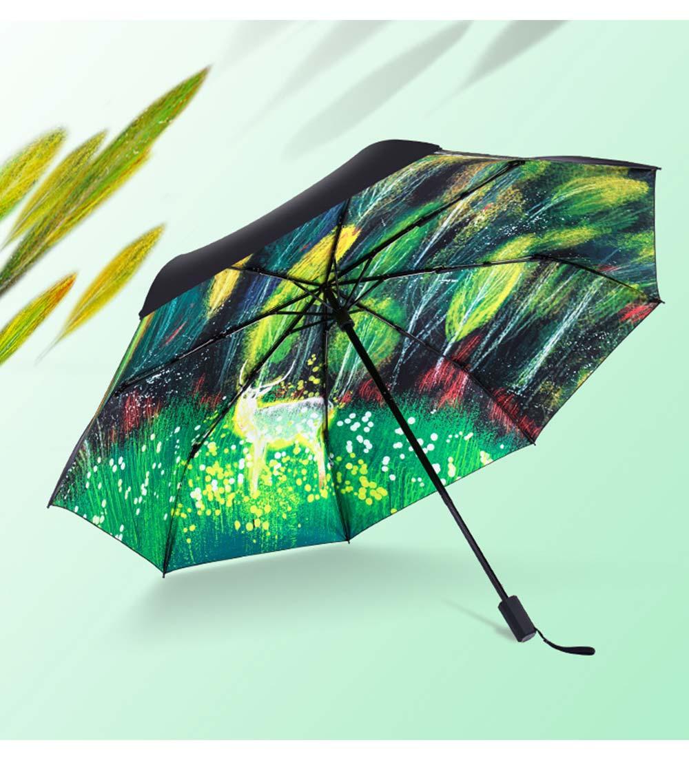 Fantasy Forest Elk Small Black Umbrella, Three Fold Anti-UV Rain Umbrella 7