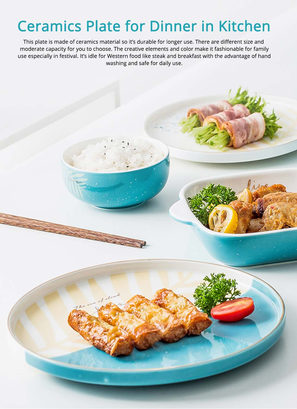 Fashionable Ceramics Plates for Dinner, Different Sizes 0