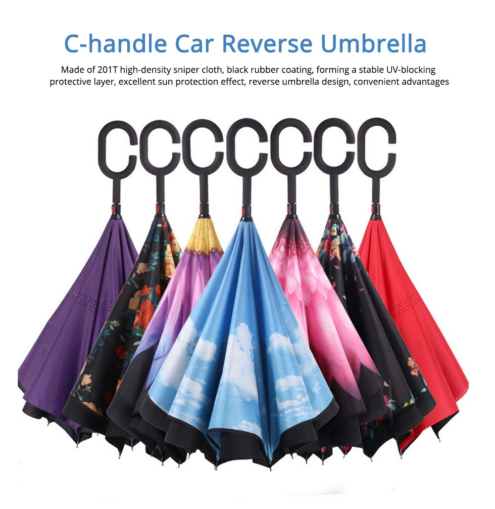 Double-layer Standing Umbrella, C-handle Car Reverse Umbrella 0