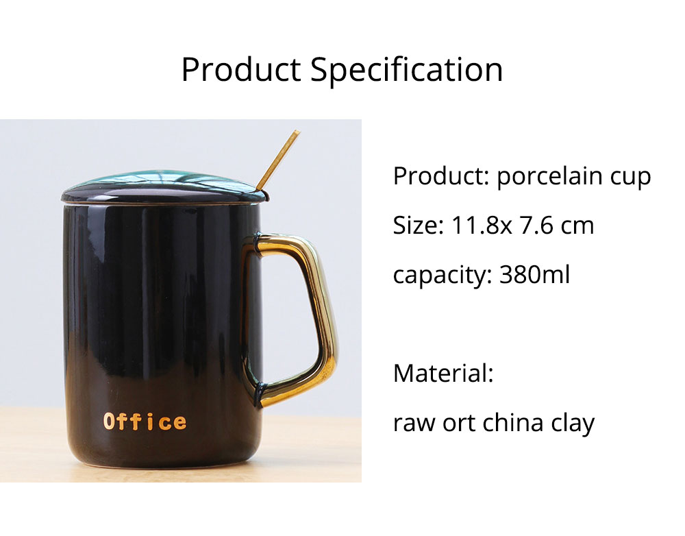 Black and White Ceramic Coffee Mug with Gold Plated Handle 17