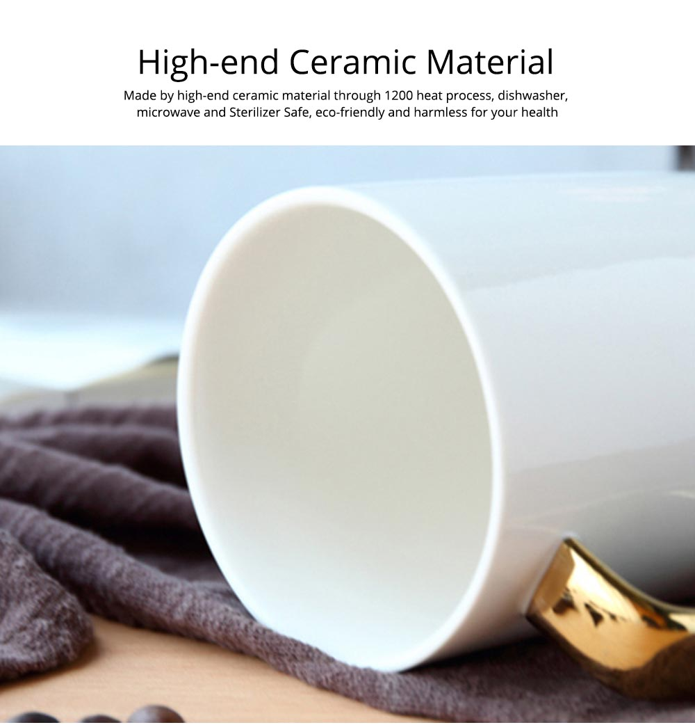 Black and White Ceramic Coffee Mug with Gold Plated Handle 10
