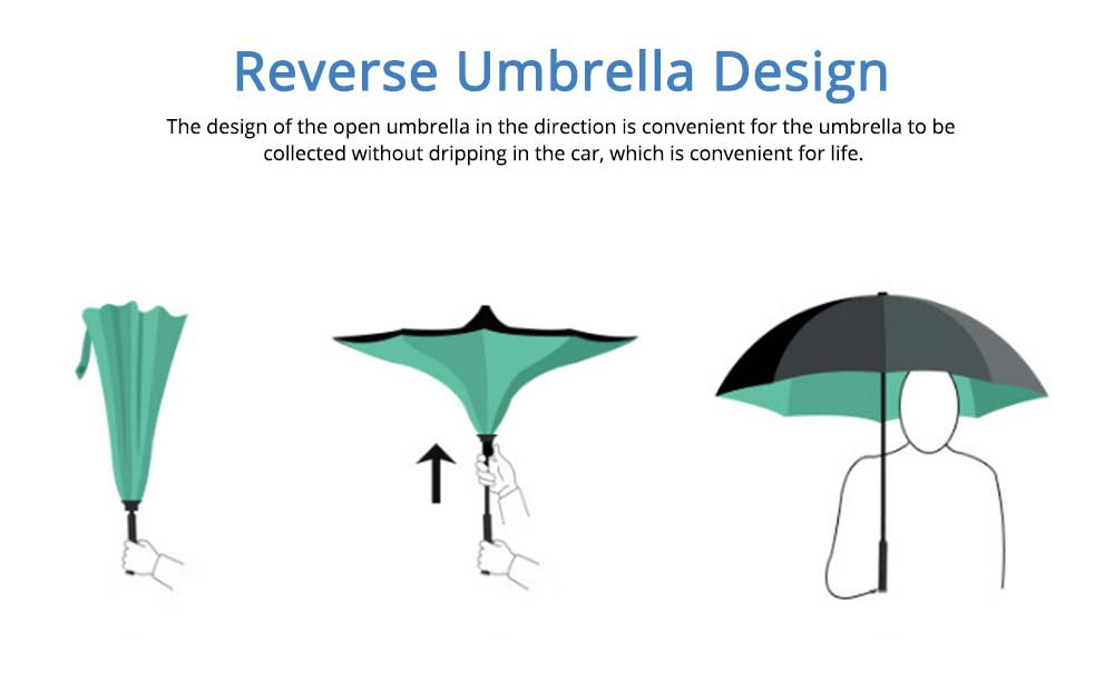Double-layer Standing Umbrella, C-handle Car Reverse Umbrella 2