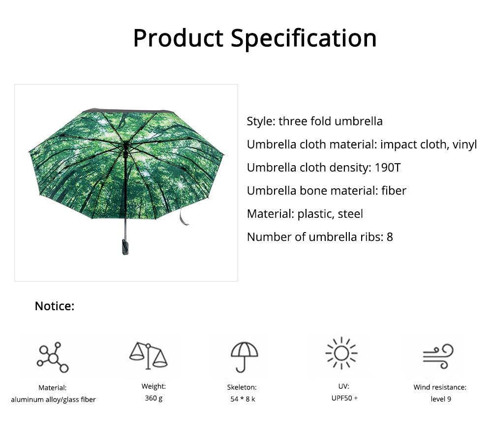 Sun Protection UV Resistant Black Umbrellas - Three Folding 6