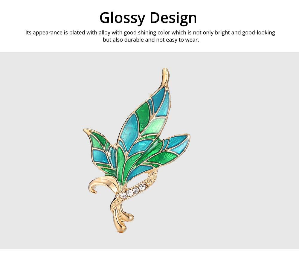 Green Rhinestone Leaf Brooch, Alloy Diamond-Encrusted Women's Corsage 2
