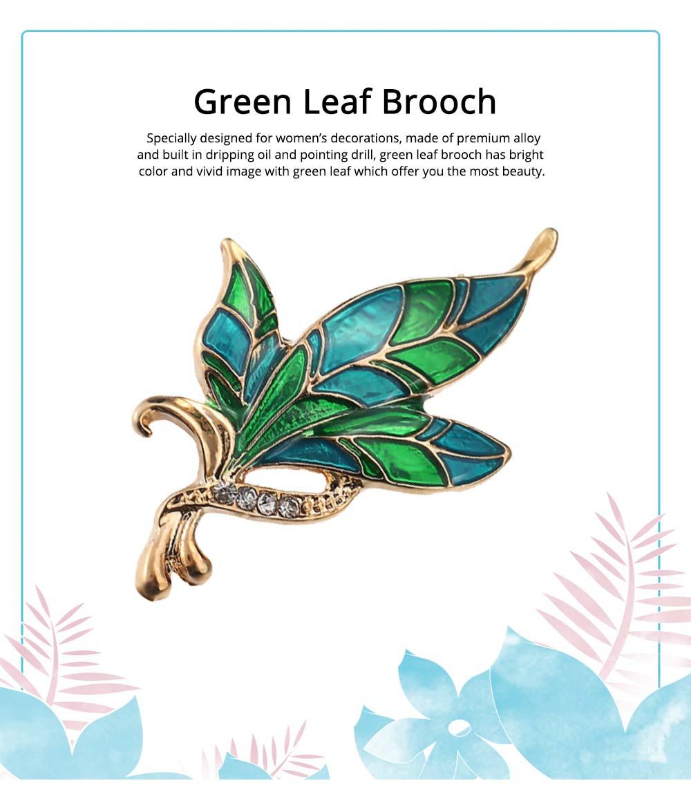 Green Rhinestone Leaf Brooch, Alloy Diamond-Encrusted Women's Corsage 0