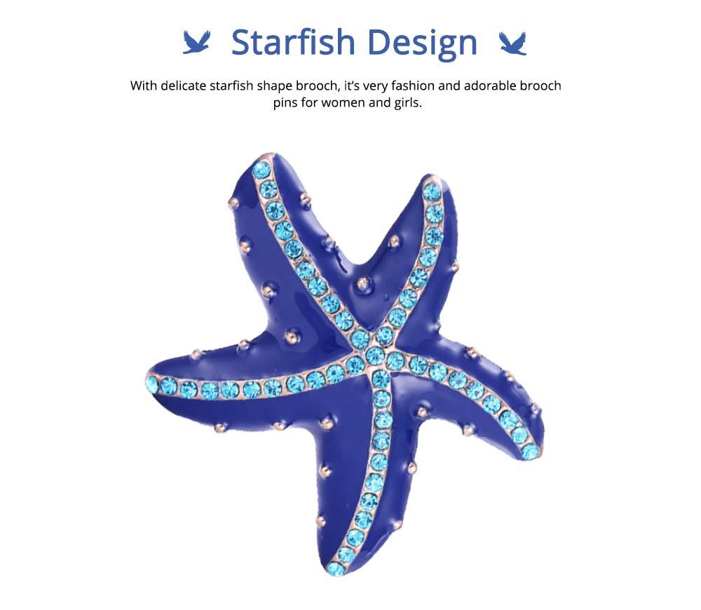 Swarovski Starfish Brooch, Marine Style Diamond-Encrusted Starfish Brooch 1