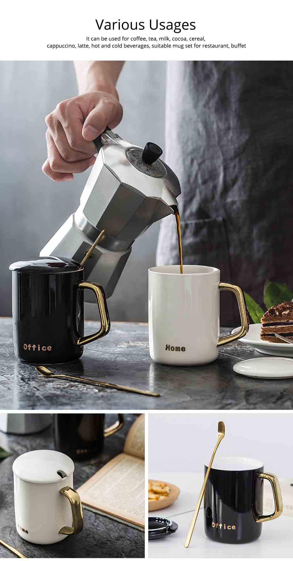 Black and White Ceramic Coffee Mug with Gold Plated Handle 2
