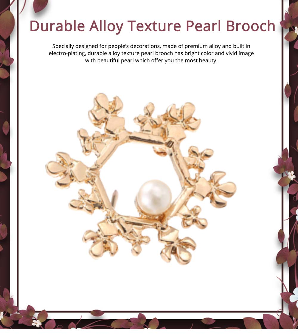 Vintage Pearl Brooch, Alloy Texture Women's Brooch with A Christmas Spin Snowflake Design 0