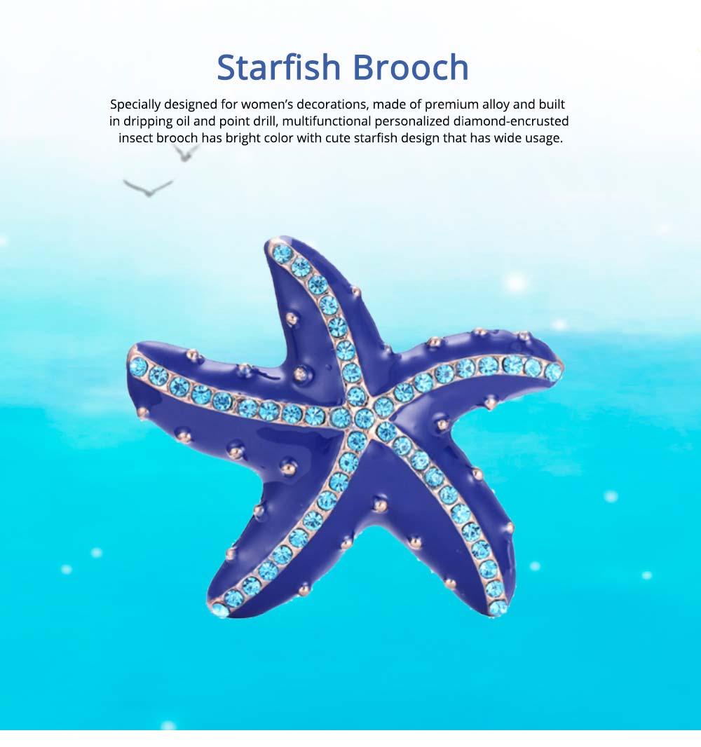 Swarovski Starfish Brooch, Marine Style Diamond-Encrusted Starfish Brooch 0