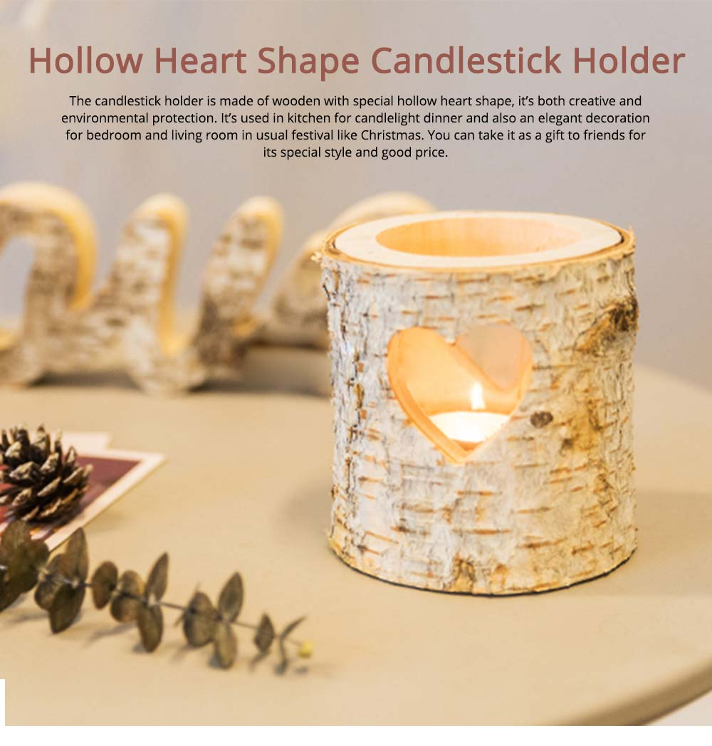 Wooden Candle Holder Hollow Heart Shaped for Candlelight Dinner 0