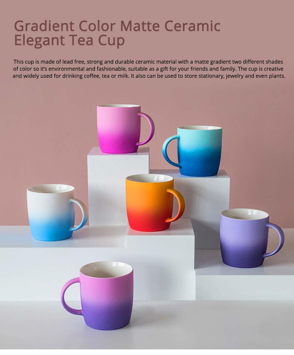 Elegant Porcelain Coffee Mug, Gradient Color Matte Ceramic Tea Cup 0