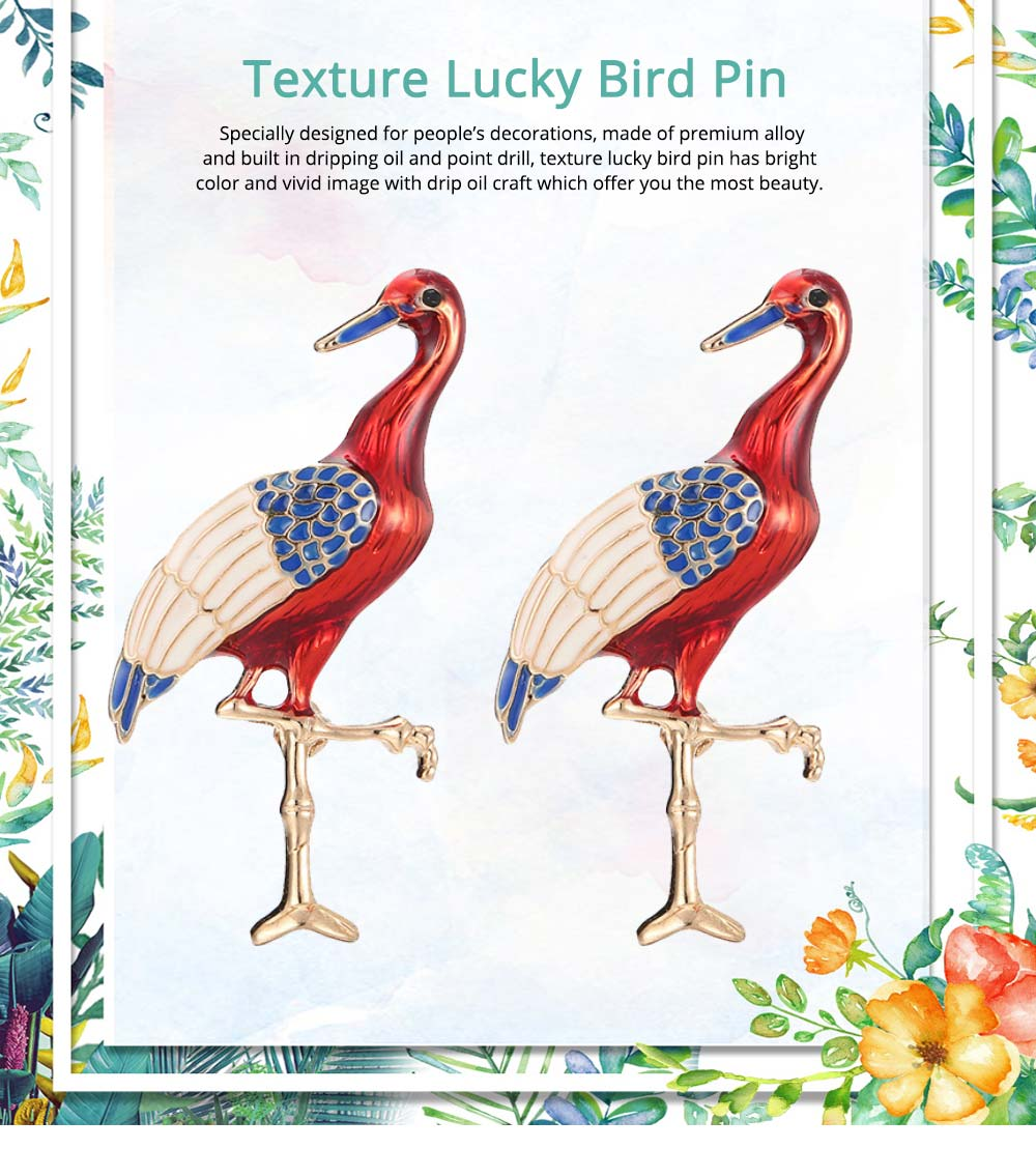 Lucky Bird Pin with Drip Enamel Craft and Red-crowned Crane Design 0