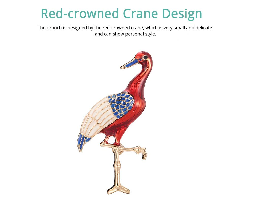 Lucky Bird Pin with Drip Enamel Craft and Red-crowned Crane Design 1