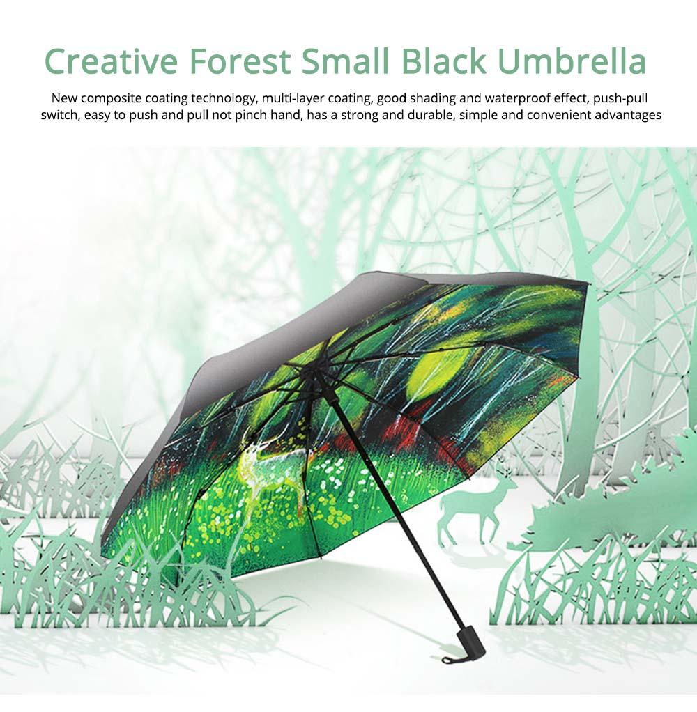 Fantasy Forest Elk Small Black Umbrella, Three Fold Anti-UV Rain Umbrella 0