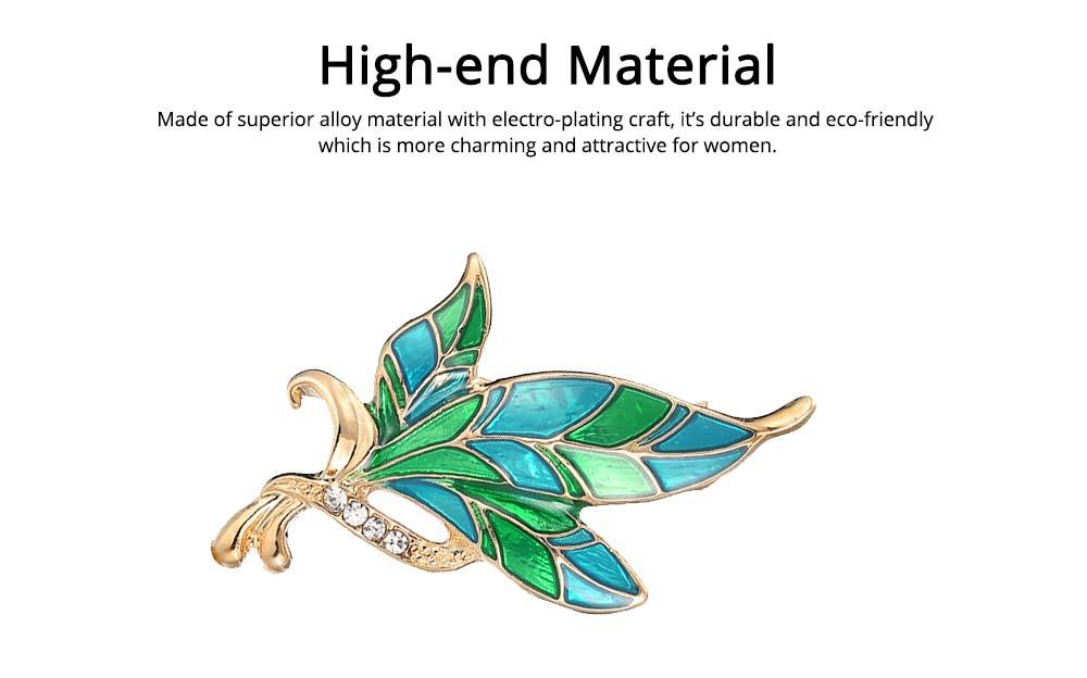 Green Rhinestone Leaf Brooch, Alloy Diamond-Encrusted Women's Corsage 3