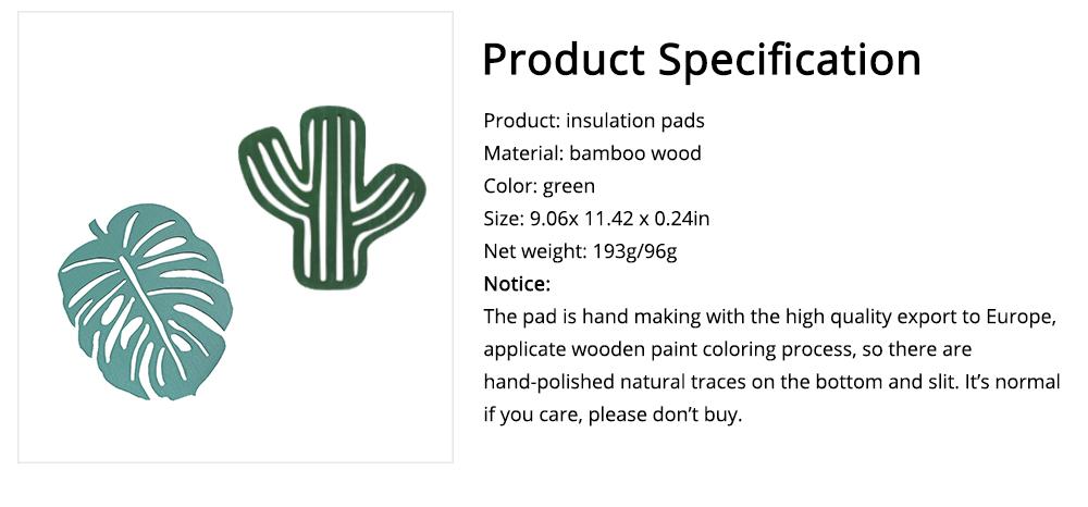 Bamboo Heat Insulation Pads, Removable Heat Resistant Plate Mat Pot Holder 5