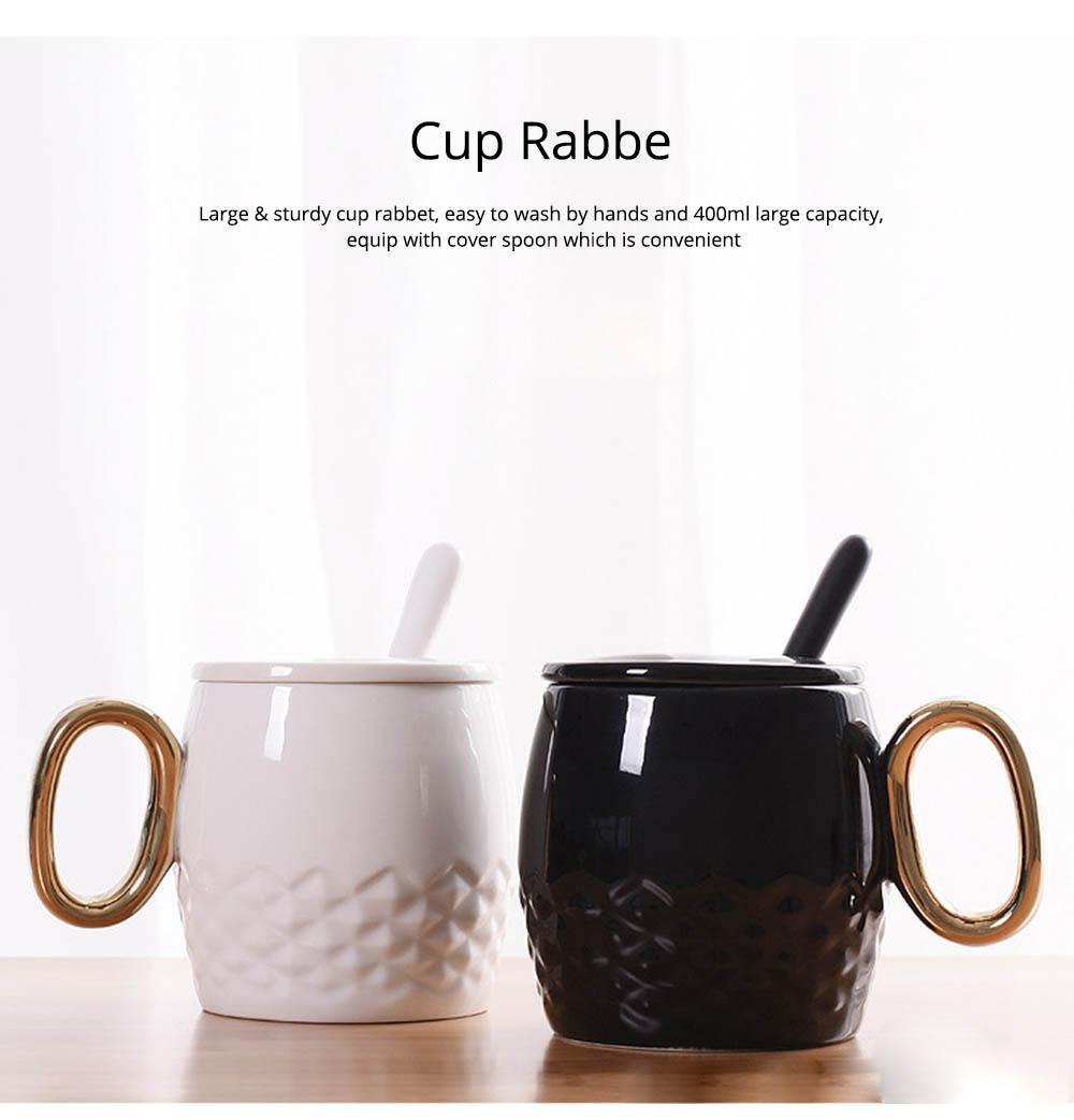 Ceramic Coffee Mug With Lid And Spoon, Plain Color Porcelain Coffee Mug 5