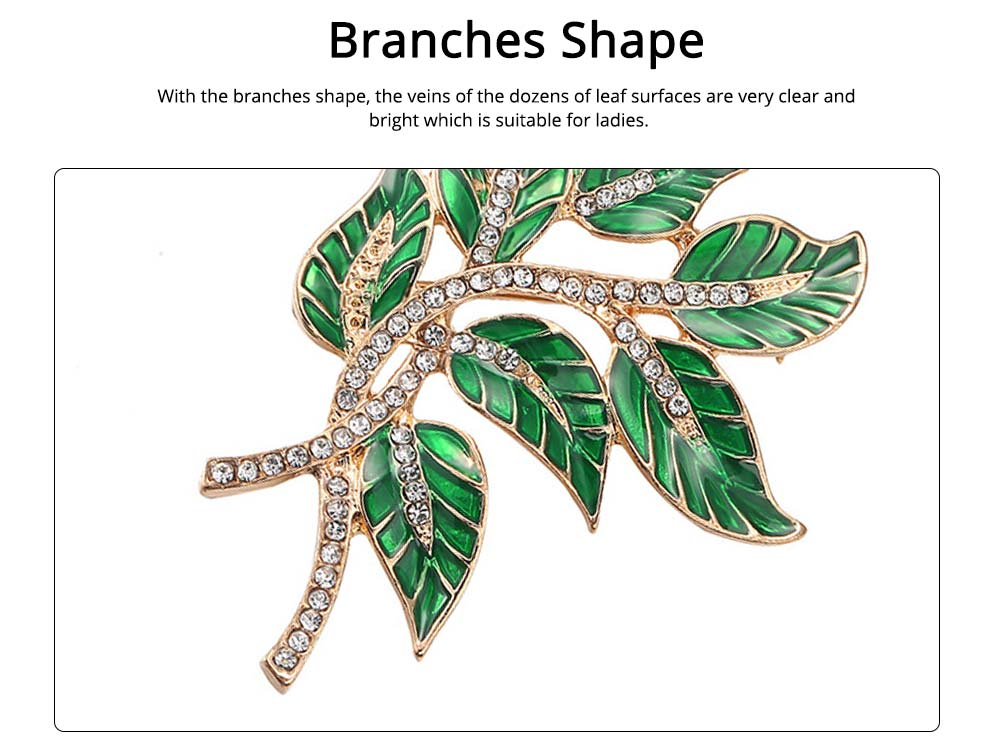 Alloy Diamond Brooch Pins, Women's Corsage with Dripping Oil Enamel Design 1