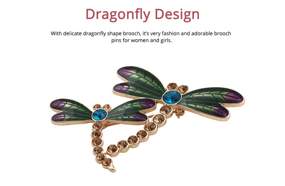 Vintage Dragonfly Brooch, Diamond-encrusted Insect Brooch 1