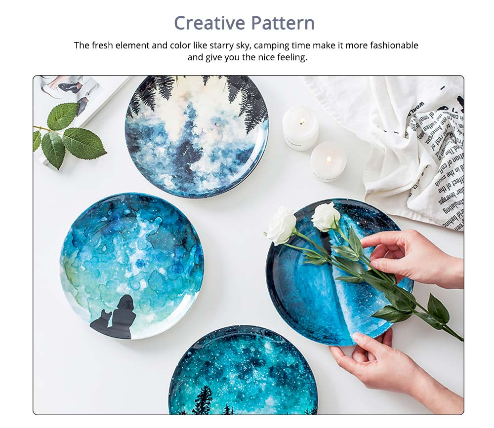 Watercolor Round Ceramic Dinner Plates For Pastry With Different Fresh Style 3