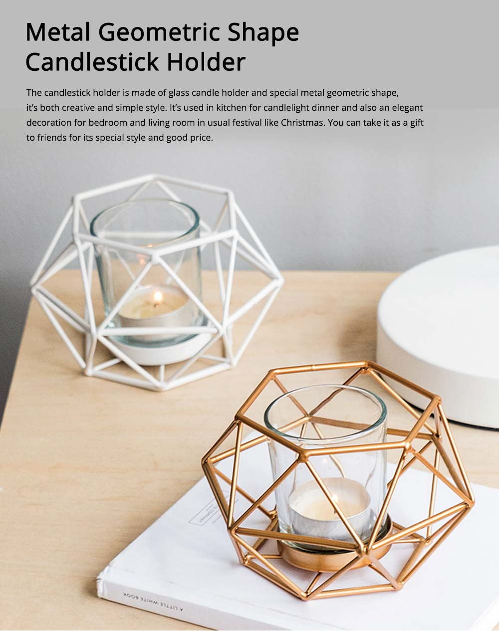 Simple Metal Candlestick Holder Geometric Shape for Candlelight Dinner 0