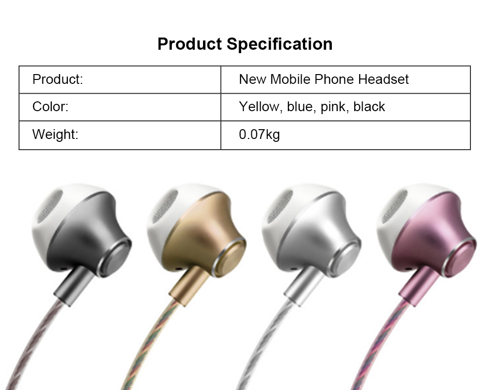 In-Ear Mobile Phone Headset, Line-controlled Dynamic Ring Music Headset 5
