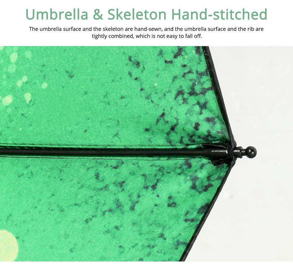 Fantasy Forest Elk Small Black Umbrella, Three Fold Anti-UV Rain Umbrella 2