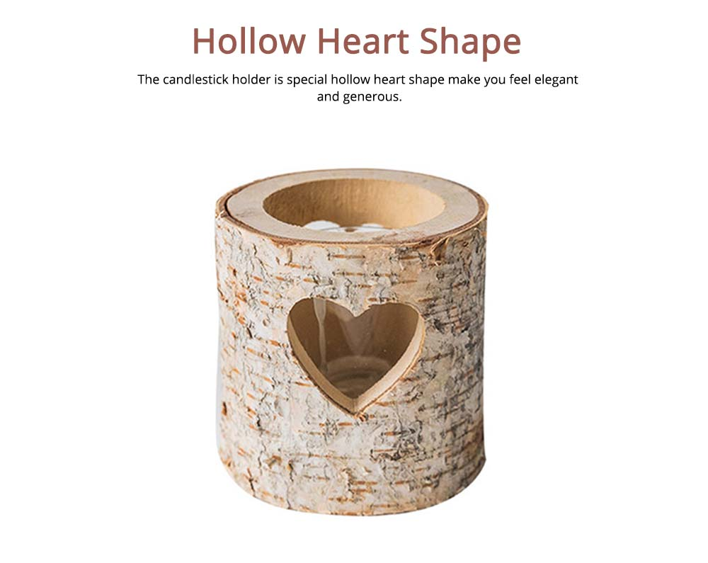 Wooden Candle Holder Hollow Heart Shaped for Candlelight Dinner 1