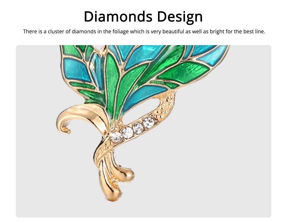 Green Rhinestone Leaf Brooch, Alloy Diamond-Encrusted Women's Corsage 4