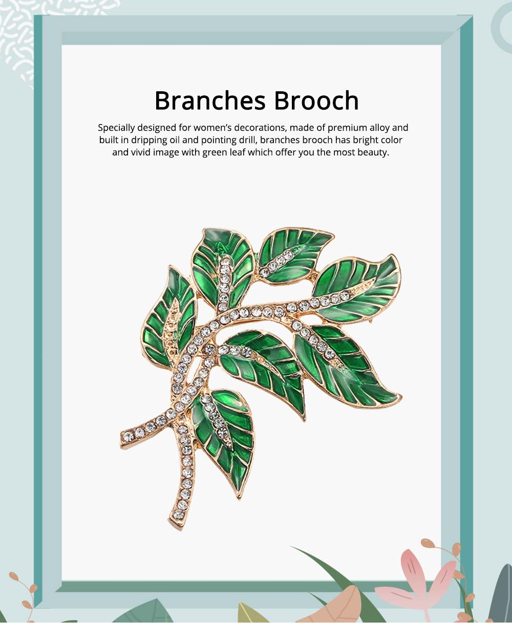 Alloy Diamond Brooch Pins, Women's Corsage with Dripping Oil Enamel Design 0