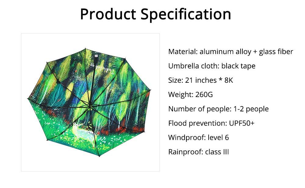 Fantasy Forest Elk Small Black Umbrella, Three Fold Anti-UV Rain Umbrella 8