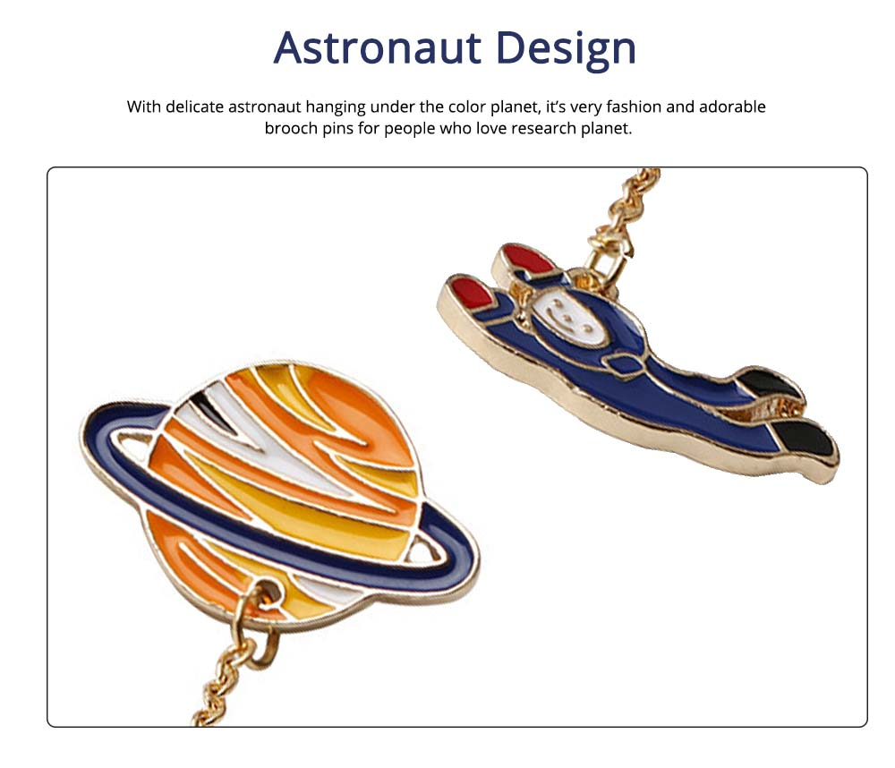 Alloy Astronaut Pin, Color Planet Astronaut Brooch With Dripping Oil Craft 1