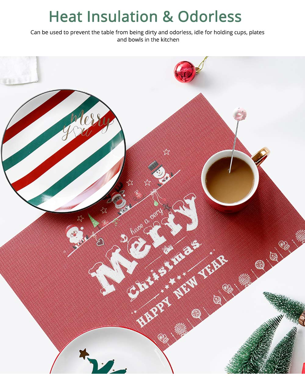 Christmas Tableware Mat, PVC Heat Insulation Pads for Cup and Bowl 4