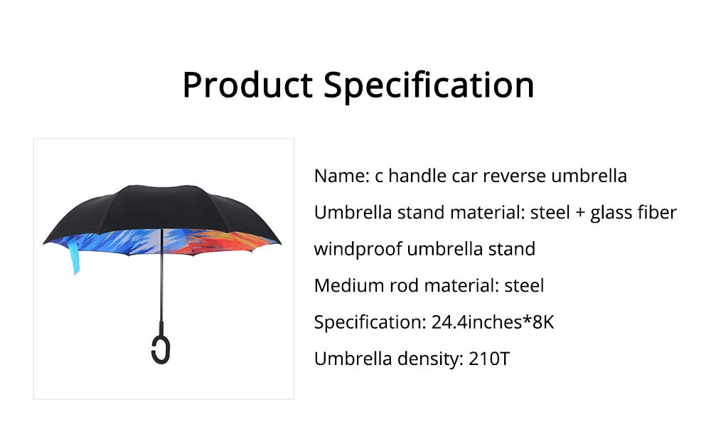 Double-layer Standing Umbrella, C-handle Car Reverse Umbrella 6