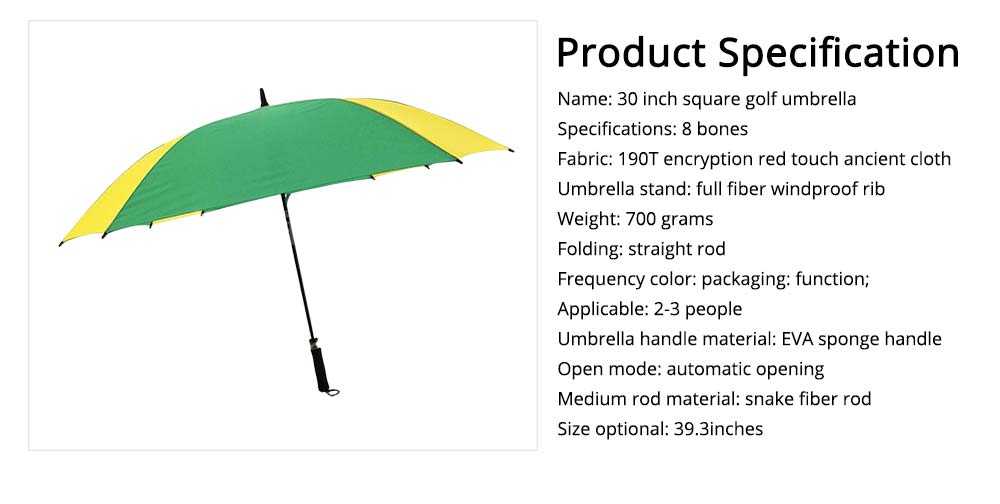 Square Golf Umbrella, 30 Inch Button Switch Simple Straight Umbrella 6