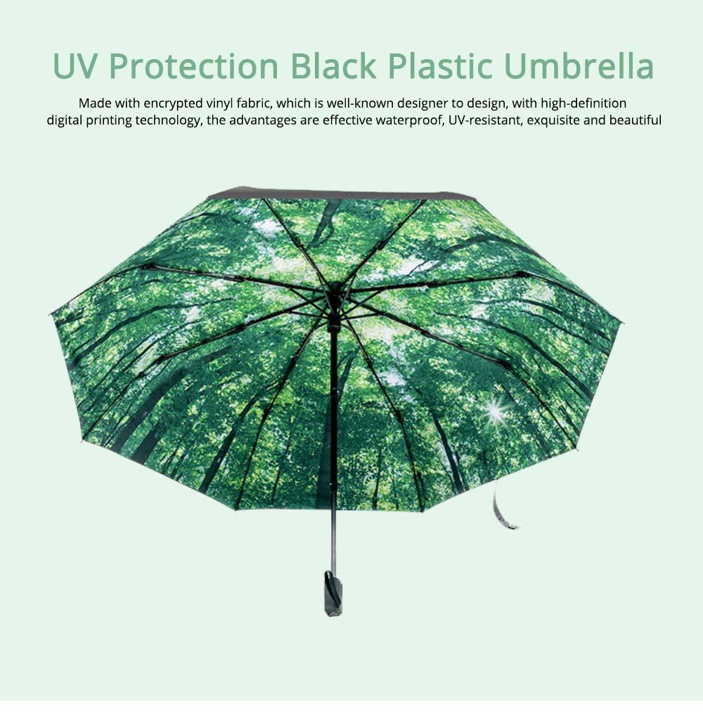 Sun Protection UV Resistant Black Umbrellas - Three Folding 0
