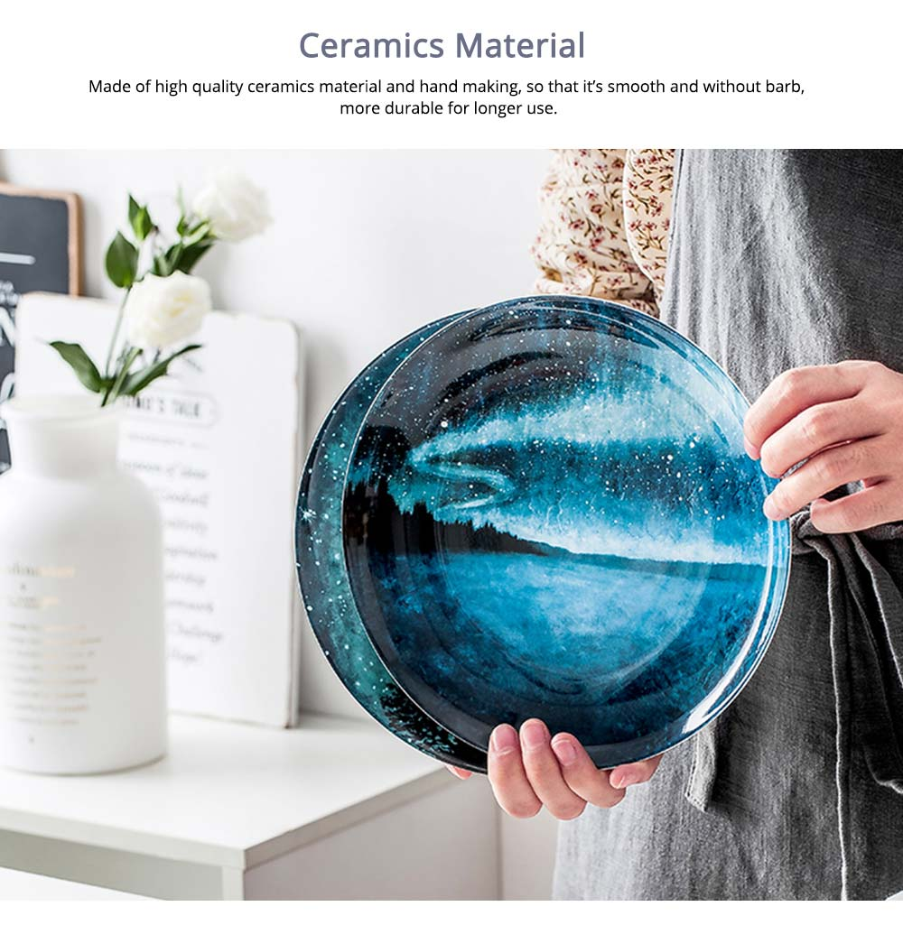 Watercolor Round Ceramic Dinner Plates For Pastry With Different Fresh Style 2