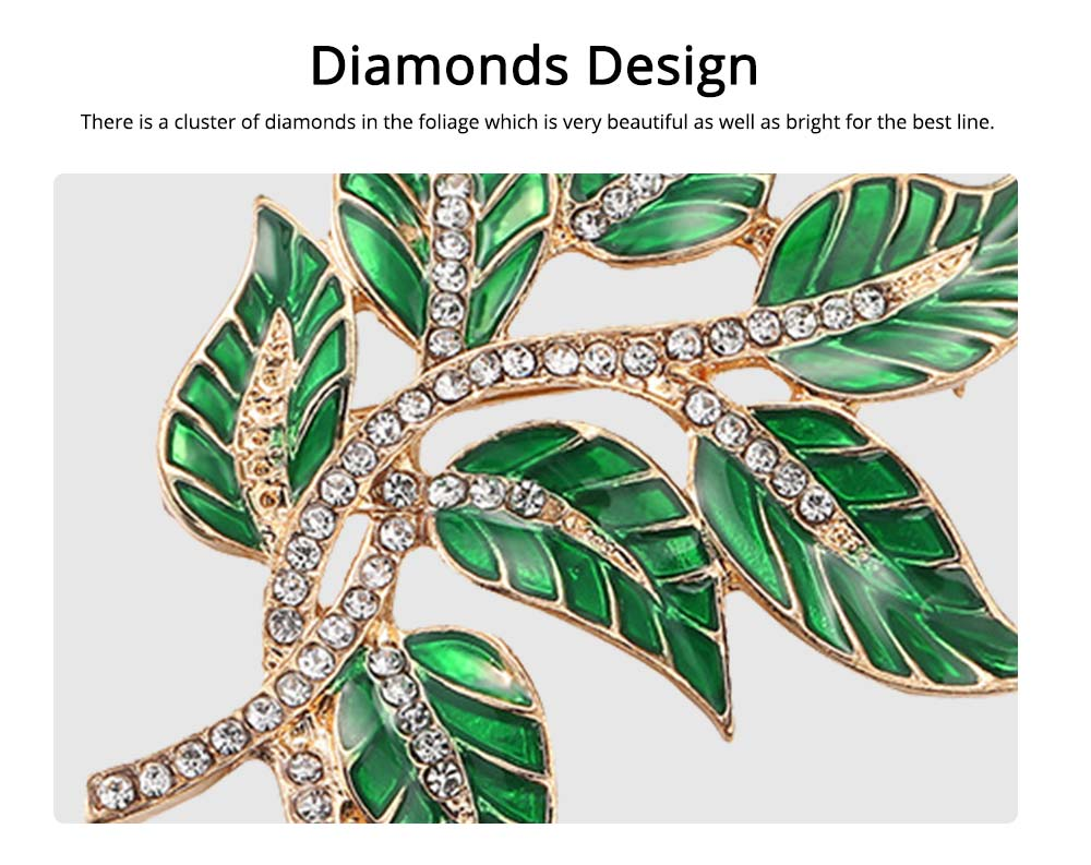 Alloy Diamond Brooch Pins, Women's Corsage with Dripping Oil Enamel Design 4