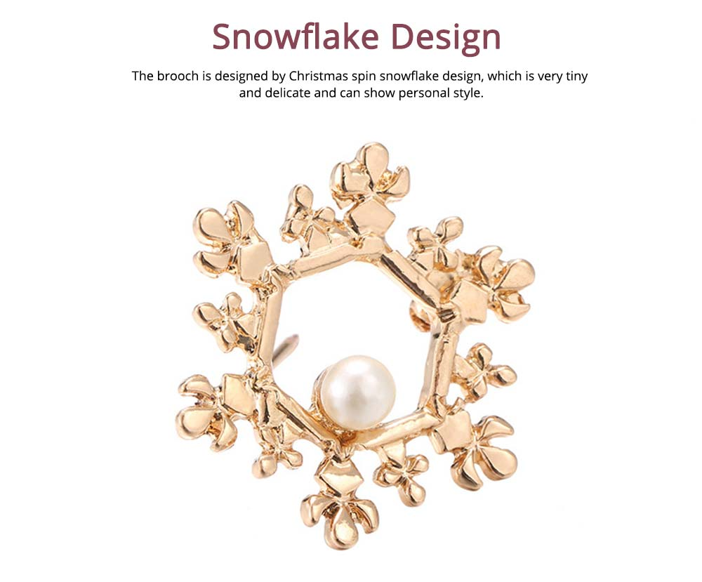 Vintage Pearl Brooch, Alloy Texture Women's Brooch with A Christmas Spin Snowflake Design 1
