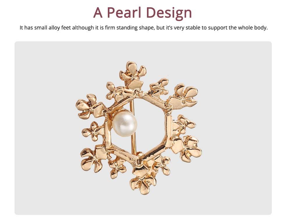Vintage Pearl Brooch, Alloy Texture Women's Brooch with A Christmas Spin Snowflake Design 4